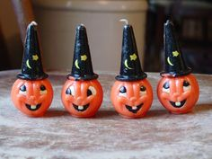 4 vintage Halloween Jack O Lantern candle candles circa 1950s pumpkin JOL Gurley | eBay