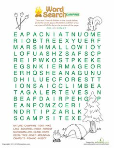 Worksheets: Word Search: Camping