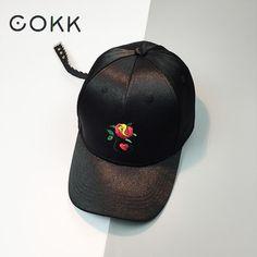 d2e8e04e75dc3 COKK Women s Cap Satin Summer Sun Visor Embroidery Red Rose Flower Baseball  Cap Dad Hat For