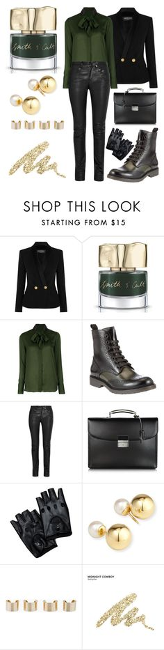 """""""Punk bands need managers too"""" by thatiswhy ❤ liked on Polyvore featuring Balmain, Smith & Cult, Givenchy, John Lewis, Helmut Lang, Pineider, Yoko London, Maison Margiela and Urban Decay"""