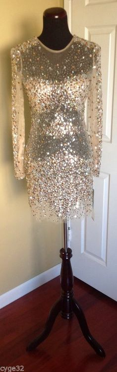 JOVANI 7757 NUDE SHEER GOLD SILVER SEQUIN SHORT FORMAL COCKTAIL EVENING DRESS #Jovani #7757 #Cocktail