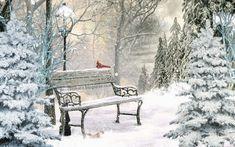 Winter Images, Winter Cabin, Winter Scenes, Outdoor Furniture, Outdoor Decor, White Christmas, Winter Wonderland, Scenery, Bench