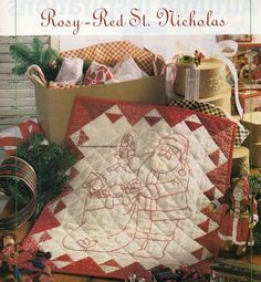 Rosy Red St Nicholas Quilt Pattern Pieced/Embroidery CT Embroidery Patterns, Quilt Patterns, Santa Claus Toys, Finding Yourself, Gift Wrapping, Quilts, Red, Purse, Ebay