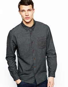 Image 1 ofASOS Brushed Twill Shirt In Long Sleeve With Contrast Pocket