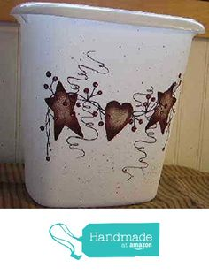 Primitive Rusty Tin Stars, Heart and Pip Berry Vine Bathroom Trash Can from Primitive Country Loft House https://www.amazon.com/dp/B019AJ1KRI/ref=hnd_sw_r_pi_awdo_jdpQyb0KAPZTY #handmadeatamazon