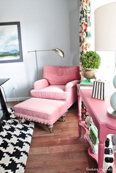 Pink, black and white office space!