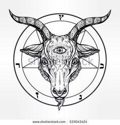 Pentagram with demon Baphomet. Satanic goat head with third eye. Binary satanic symbol. Vector illustration isolated. Tattoo design, retro, music, summer, print symbol for biker black metal themes.