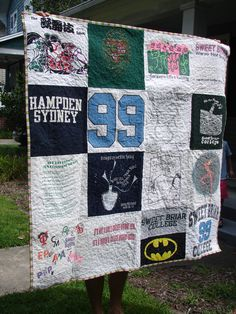 T-shirt quilt.  Sweet Briar College, class of '99.  birdinhandquilts.wordpress.com