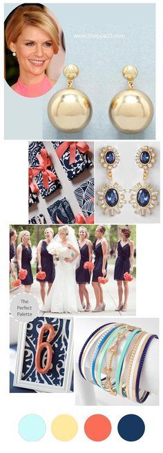 NAUTICAL WEDDING : Color Inspiration Navy, Gold, Pale Turquoise, Dark Peach