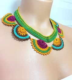 Crochet Handmade Needlework Lace Necklace by Cocomillo on Etsy