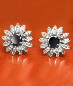 1 Ct Black Diamond Solitaire Studs With White Diamonds Black Diamond Studs, Black Diamond Earrings, Rose Cut Diamond, Chain Earrings, Beaded Earrings, Colored Diamonds, White Diamonds, Amethyst, Gemstones