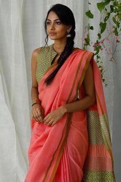 Urban Drape Pink Jasmin Saree - Shipping from October Satin Saree, Cotton Saree, Indian Silk Sarees, Indian Blouse, Indian Wear, Latest Saree Blouse, Blouse Neck Designs, Blouse Patterns, Modern Saree