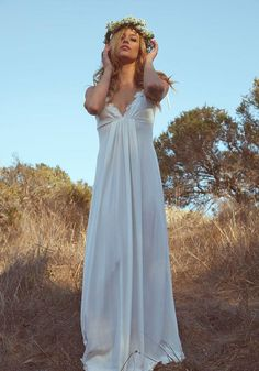 Vintage Wedding Gown Dress 70s Hippie by DaughtersOfSimone on Etsy, $805.00