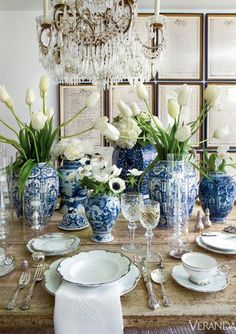 It's time to set the table for that perfect dinner party. love the cluster of blue and white