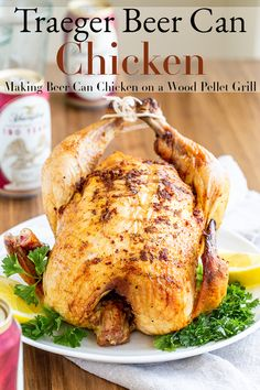This Traeger beer can chicken recipe is the best chicken ever. Beer brine the chicken, add a simple rub and let it sit on a beer in the wood pellet grill. Smoked Beer Can Chicken, Traeger Chicken, Grilled Whole Chicken, Can Chicken Recipes, Beer Chicken, Canned Chicken, Traeger Bbq, Traeger Recipes, Kochen