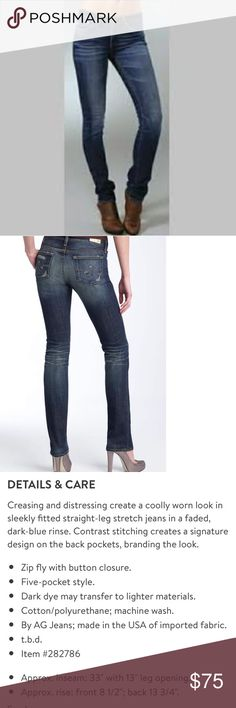 AG Premier Skinny Straight Jeans NWOT. Product description in pics above for measurements. Cotton/ spandex 98/2. perfect for fall and winter with boots or heels Ag Adriano Goldschmied Jeans Straight Leg