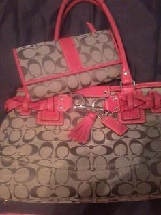 BEAUTIFUL RED TRIM COACH PURSE AND MATCHING WALLET