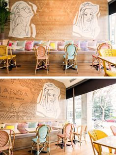 These Murals Feature In A Colorful Cafe In Madrid