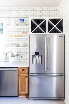 Our Kitchen Renovation: A Year-ish Later. Everything we love and a few things we would have done different in our white kitchen renovation. Fridge Shelves, Refrigerator Storage, Wine Shelves, Wine Storage, Kitchen Shelves, Diy Kitchen, Kitchen Ideas, Kitchen Trends, Storage Racks