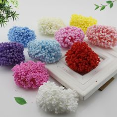 12 Pieces Mini PE Foam Pompom Artificial Flowers For Wedding Box Handmade Decoration accessories  DIY Pompom Wreath Fake flowers