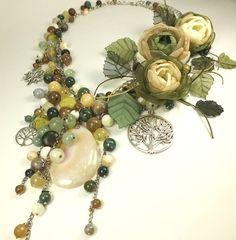Conjuntos de joyas hechas a mano. Fairy artesanales olivares.  Collar y tres broches - una flor.  Hecho a mano.