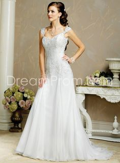 [$199.49] Dedicate A-line Capped-Sleeve Sweetheart Appliques Court Vintage Wedding Dresses