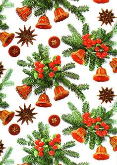 pine garlands Christmas wrapping paper