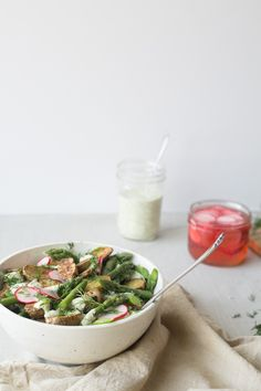 Potato & Asparagus Salad w/ Pickled Radishes + Creamy Dill Sauce (Vegan, Nut-Free, Oil-Free) by The Green Life