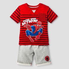 Toddler Boys' Spiderman Top And Bottom Set Red 2T
