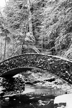 Snowy bridge at Old Man's Cave