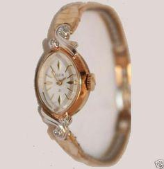 Echte Elgin 1950er Diamanten Armbanduhr 10K echt Rose Weißgold Gold Rolled