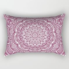 "Our Rectangular Pillow is the ultimate decorative accent to any room. Made from 100% spun polyester poplin fabric, these ""lumbar"" pillows feature a double-sided print Wine Maroon Ethnic Detailed Textured Mandala Mandala mandalas mandela mandalas detailed texture graphic-design meditate meditation meditating luck lucky future positive positivity attitude good goodness happy happiness trend trendy modern boho bohemian girl"