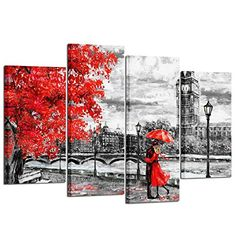 Kreative Arts - 4pcs Contemporary Wall Art Black White and Red Umbrella Couple in Street Big Ben Oil Painting Printed on Canvas Romantic Picture Framed Artwork Prints for Walls Decor #Kreative #Arts #Contemporary #Wall #Black #White #Umbrella #Couple #Street #Painting #Printed #Canvas #Romantic #Picture #Framed #Artwork #Prints #Walls #Decor