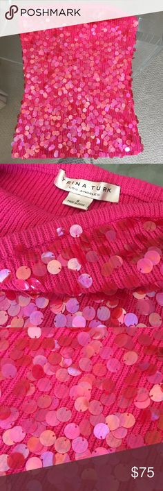 Trina Turk Sparkle Embellished Bandeau Tube Top Vintage hot pink Trina Turk bandeau sweater tube top embellished with paillettes! This is an absolutely gorgeous top with tons of beautiful sparkle. Only worn a couple of times. Like new. Trina Turk Tops