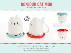 bonjour cat mug