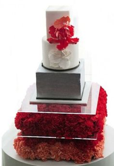 An Ultra Modern Red Wedding Bouquet and Cake + a Day Off Wedding Cake Red, Red Bouquet Wedding, Wedding Cakes With Cupcakes, Elegant Wedding Cakes, Beautiful Wedding Cakes, Gorgeous Cakes, Amazing Cakes, Cupcake Cakes, Dusty Blue