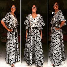 E robe princesse longue en pagne wax vlisco noir et blanc African Attire, African Wear, African Women, African Dress, African Clothes, African Print Fashion, African Prints, African Fabric, Coast Fashion
