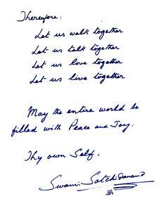 Swami Satchidananda's prescription for living a harmonious life at Yogaville. www.yogaville.org