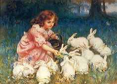 Vintage Easter card, love the sweet girl and bunnies