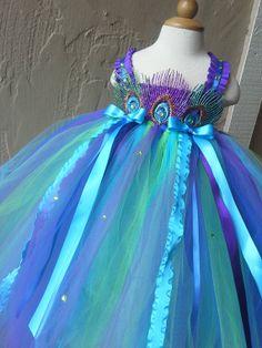 Peacock flower girl dress  Peacock tutu dress Peacock Flower girl dress by GlitterMeBaby, $65.00