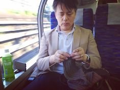 Kitting on a train.