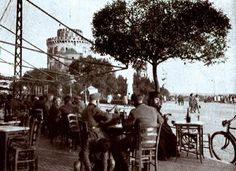 Greece - Thessaloniki, The White Tower in back and the Square with the cafés. 1950's