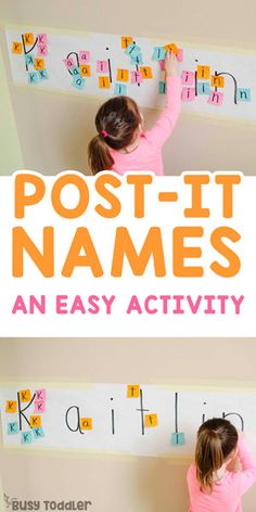 Post-It Names: Easy Alphabet Activity POST-IT NAMES: An easy name recognition activity; an easy learning activity; alphabet activity for toddlers; quick and easy activity; easy kids activity from Busy Toddler Preschool Learning Activities, Fun Learning, Toddler Activities, Teaching Kids, Toddler Games, Indoor Activities, Summer Activities, Teaching Toddlers Letters, Activities For 4 Year Olds