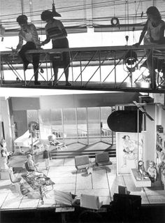 Behind the scenes puppeteers on the set of Thunderbirds