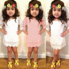 Baby Girls Long Sleeve Flower Lace Short Mini Dress