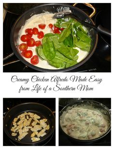 Creamy Chicken Alfredo Made Easy! Delicious Chicken Alfredo with Spinach and Tomatoes.