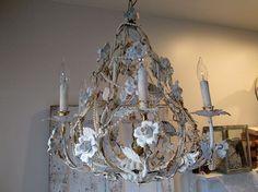 White porcelain rose chandelier lighting by AnitaSperoDesign