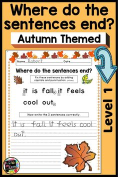 Looking for a fun and engaging Fall/Autumn reading and writing activity? Do your students need practice writing complete sentences with correct capitalization and punctuation? Then these no-prep, differentiated editing worksheets are for you! They each have 2 or 3 autumn themed sentences with missing capitals and punctuation. Your 1st grade or 2nd grade students' job is to figure out where the sentences end, edit, and then rewrite. #fall #autumn #punctuation #capitalization #edit #writing First Grade Lessons, First Grade Activities, Writing Activities, Math Resources, Reading Lessons, Writing Lessons, Writing Practice, Numbers Kindergarten, Kindergarten Lessons