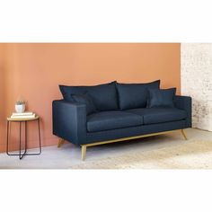 Pull-out sofa with night-blue fabric cover Vintage Sofa, Home Decor Furniture, Pallet Furniture, Furniture Online, Sofa Design, Sofa Bed Set, Blue Leather Sofa, Azul Vintage, Canapé Convertible 3 Places