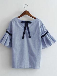 Shop Bell Sleeve Bow Tie Back Pinstripe Blouse online. SheIn offers Bell Sleeve Bow Tie Back Pinstripe Blouse & more to fit your fashionable needs.
